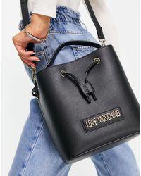 Love Moschino Borsa a secchiello nera con logo - Rosa