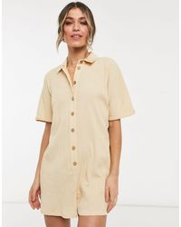 ASOS Button Up Shirt Romper - Natural