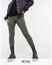 Vero Moda – Leggings mit grünem Tierfellmuster