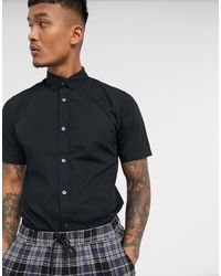 Only & Sons Short Sleeve Stretch Cotton Shirt - Black