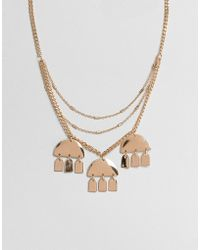 ASOS - Multirow Necklace With Geo Shape Charms In Gold - Lyst