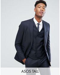 ASOS Asos Tall Slim Suit Jacket - Blue