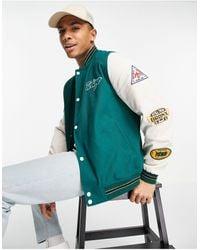 ASOS Oversized Varsity Cotton Bomber Jacket - Green