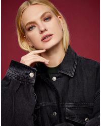 TOPSHOP Oversized Borg Lined Recycled Cotton Denim Jacket - Black