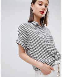 Esprit - Striped Oversized Short Sleeve Blouse - Lyst