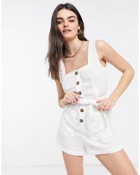 Fashion Union Exclusive Button Down Beach Playsuit - White