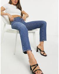 Vero Moda Carla Straight Leg Jeans With High Rise - Blue