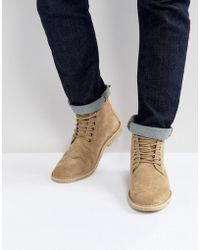ASOS DESIGN - Desert Boots In Stone Suede With Leather Detail - Lyst