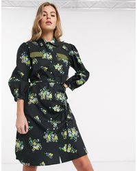 Résumé Resume - Sianna - Robe chemise courte à fleurs - Noir