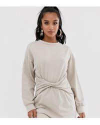 Boohoo Sweat Mini Dress With Twist Front In Stone - Multicolour