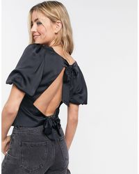 Abercrombie & Fitch - Satin Bow Back Blouse - Lyst