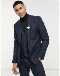 ASOS Skinny Suit Waistcoat With Micro Check - Blue