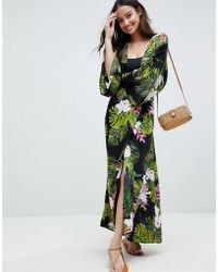 b448c5b6cc6f ASOS - Dark Tropical Print Long Sleeve Plunge Beach Maxi Dress - Lyst