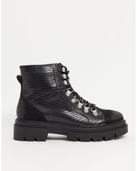 Glamorous Flat Hiker Boots - Black