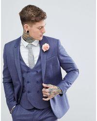 ASOS - Wedding Slim Suit Jacket In Deep Blue 100% Merino Wool - Lyst