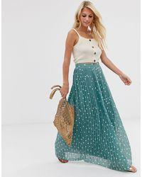 Vila Polka Dot Pleated Maxi Skirt - Blue
