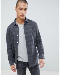 Threadbare - Flannel Stripe Shirt In Navy - Lyst