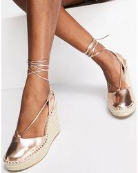 ASOS Tammy Tie Leg Espadrille Wedges - Metallic