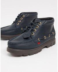 Kickers Темно-синие Кожаные Ботинки На Шнуровке Lennon-темно-синий