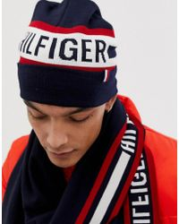 3838fa82808 Lacoste Knitted Retro Logo Beanie in Blue for Men - Lyst