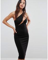 AQ/AQ Aq/aq Cut Out Midi Dress With Slash Neckline - Black