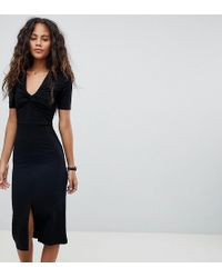 ASOS - Asos Design Tall Twist Front Ponte Pencil Dress - Lyst