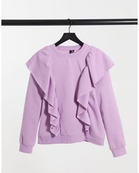 Vero Moda Sweat With Ruffles - Purple