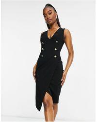 Vesper Tuxedo Midi Dress - Black