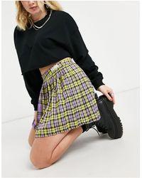 Bershka Spliced Tartan Tennis Skirt - Multicolour