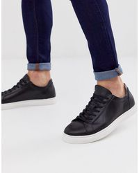 SELECTED Leather Sneaker With Contrast Sole - Black