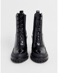 ASOS Botas con cordones gruesas en negro Ellen