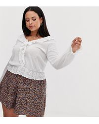 ASOS Asos Design Curve Top In Crinkle With Ruffle Broderie Trim - White