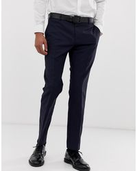 Calvin Klein Pantalones de traje de corte slim - Azul