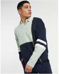 ASOS Oversized Long Sleeve Rugby Polo - Blue