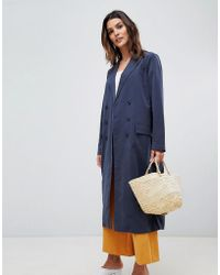 Vila - Double Breasted Trench Coat - Lyst