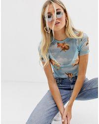 Bershka T-shirt blu con stampa di angeli