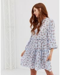 Stradivarius Str Ditsy Print Smock Dress-multi - Blue