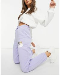 Fiorucci Relaxed sweatpants With Small Angel Graphic - Purple