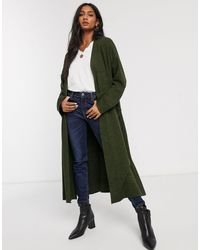 Micha Lounge Longline Cardigan With Drape Lapel-green