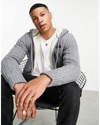 Schott Nyc Duncan Sherpa Lined Zip Through Textured Knit Hoodie - Grey