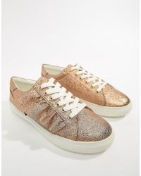 Missguided - Gold Ruffle Sneakers - Lyst