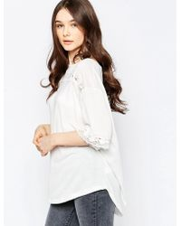 Wal-G - Top With Lace Insert - Cream - Lyst