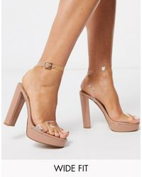 ASOS - Wide Fit Nutshell Clear Platform Barely There Heeled Sandals - Lyst