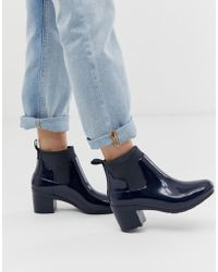HUNTER Mid Heel Glossy Chelsea Welly Boot In Navy - Blue
