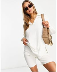 Threadbare Bethany Loose Fit Knitted Top And Ribbed legging Shorts Set - White