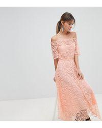 Boohoo - Exclusive Bardot Lace Midi Dress - Lyst
