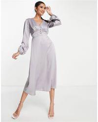 Flounce London Buttoned Midi Dress - Grey