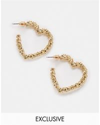 Accessorize Exclusive Textured Heart Earrings - Metallic