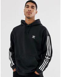 adidas Originals Sudadera con capucha, 3 rayas y logo en negro