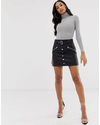 ASOS Leather Look Mini Skirt With Pockets Zips And Poppers - Black